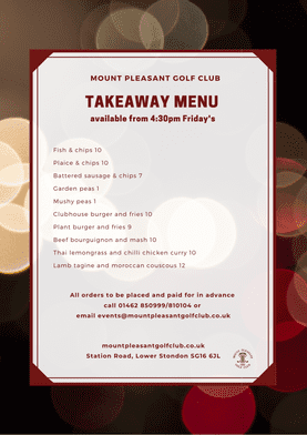 Friday Takeaway menu